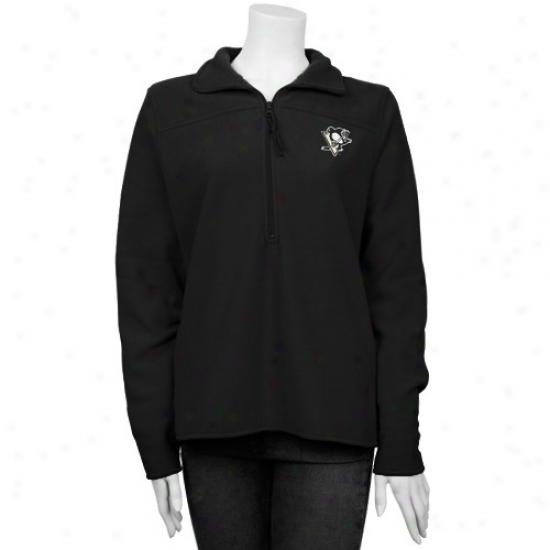 Pittsburgh Penguins Hoodies : Antigua Pittsburgh Penguins Ladies Black Simplicity Pullover Hoodies Jacket