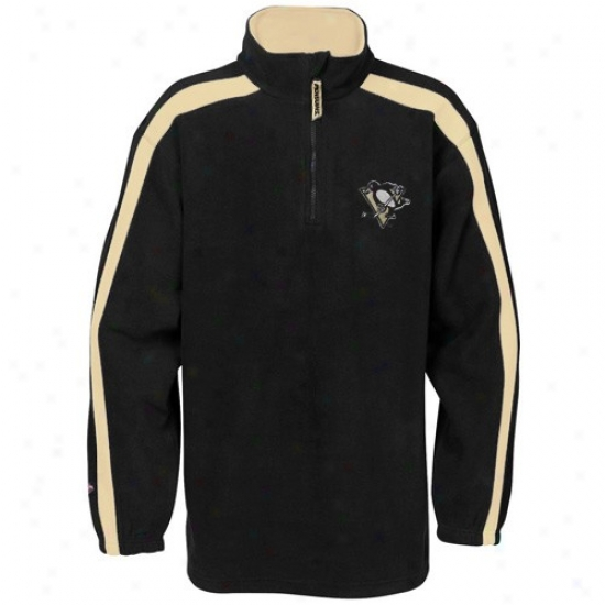 Pittsburgh Penguins Hoodies : Elevated Pittsburgh Penguins Black Game Stopper 1/4 Zip Hoodies