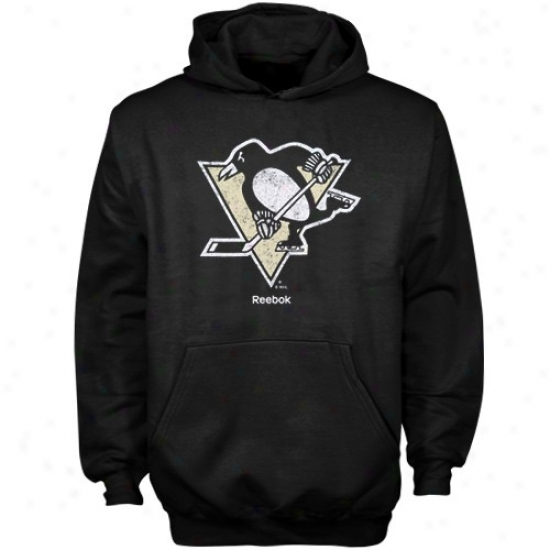 Pittsburgh Penguins Hoodies : Reebok Pittsbrugh Penguins Youth Black Primary Logo Hoodies