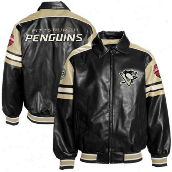 Pittsburgh Penguins Jacket : Pittsburgh Penguins Black Pleather Varsity Full Zip Jacket