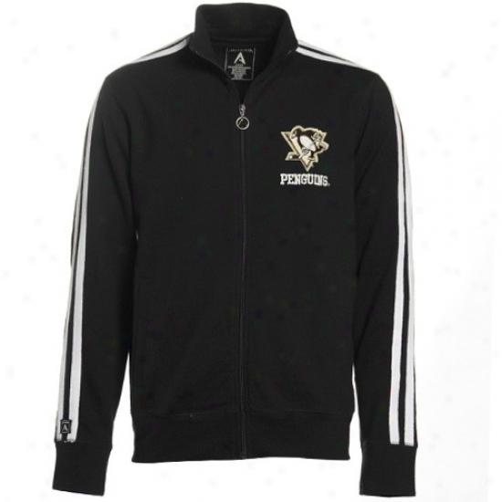 Pittsburgh Penguins Jackets : Antigua Pittsburgh Penguins Black Amsterdam Distressed Logo Full Zip Track Jackets