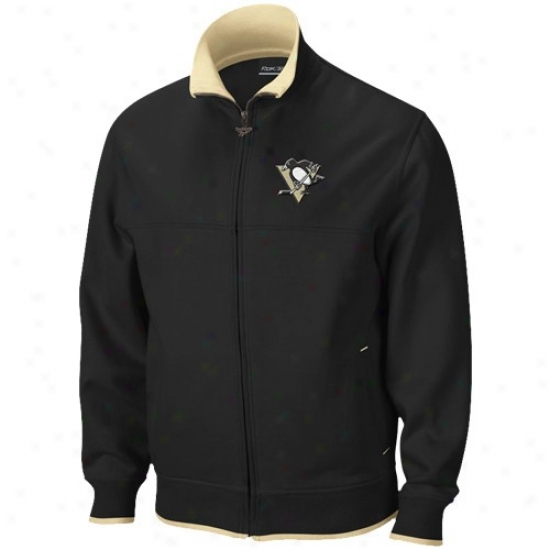Pittsburgh Penguins Jackets : Reebok Pittsburgh Penguins Black Mvp Track Jackets