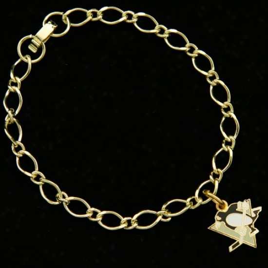 Pittsburgh Penguins Ladies Gold-tone Charm Bracelet