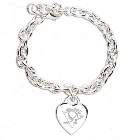 Pittsburgh Penguins Ladies White Heart Charm Bracelet