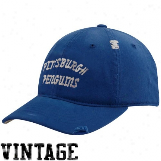 Pittsurgh Penguins Merchandise: Reebok Pittsburgh Penguins Royal Blue Vintage Flex Lubber Hat