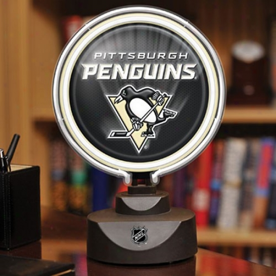 Pittsburgh Penguins Neon Disk Lamp