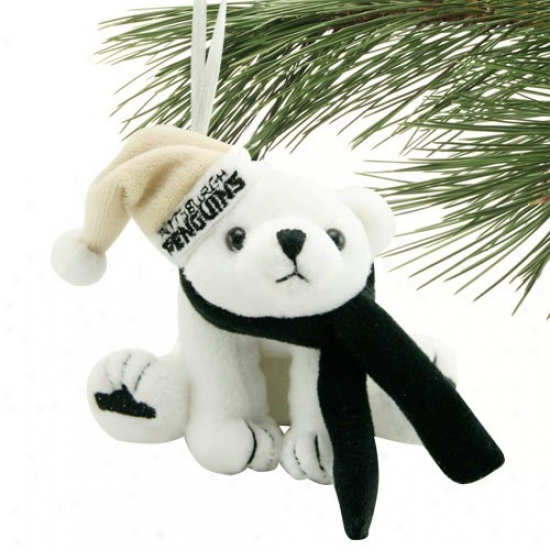 Pittsburgh Penguins Plush Polar Bear Ornament