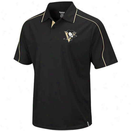 Pittsburgh Penguins Polos : Reebok Pittsburgh Penguins Black Arena Polos