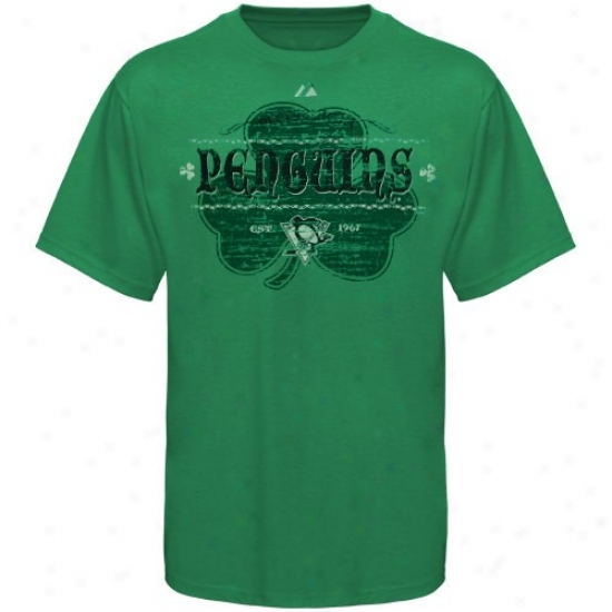 Pittsburgh Penguins T-shirt : Majestic Pittsburgh Penguins Kelly Green Irish Hockey T-shirt