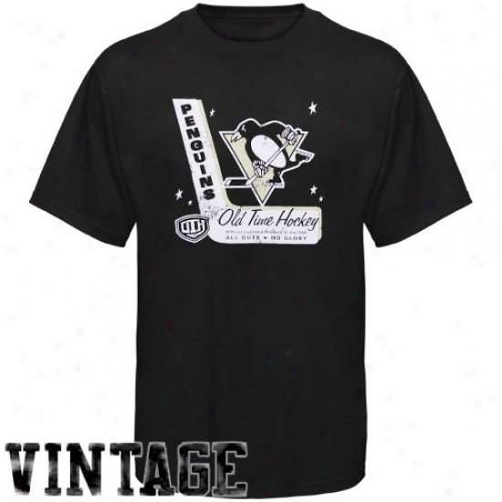 Pittsburgh Penguins T Shirt : Old Time Hockey Pittsburgh Penguins Black Lumber Vintage T Shirt