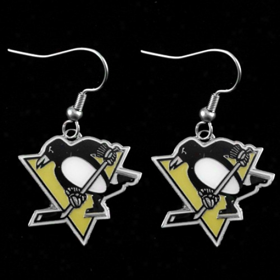 Pittsburgh Penguins Team Logo Dangle Earrings