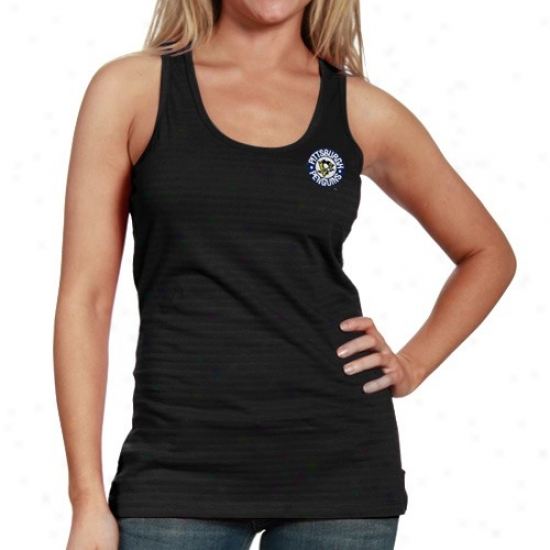 Pittsburgh Penguins Tee : Antigua Pittsburgh Penguins Ladies Black Splendid Premium Tank Top