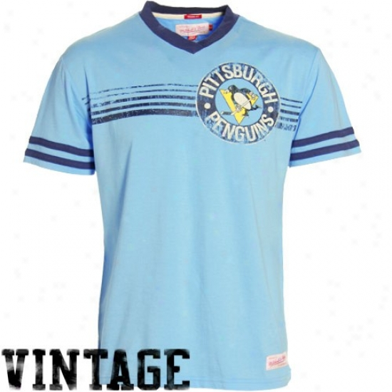 Pittsburgh Penguins Tees : Mitchell & Ness Pittsbugh Penguins Light Blue Flip Range V-neck Vintage Tees