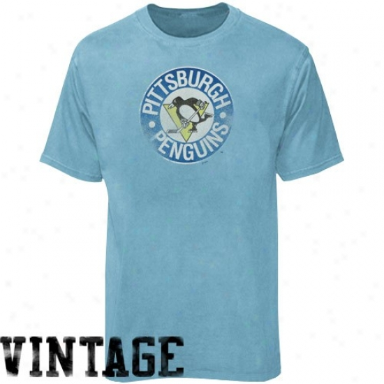 Pittsburgh Penguins Tshirt : Majestic Pittsburgh Penguins Light Blue Haughty Leisure Play Vintage Tshirt