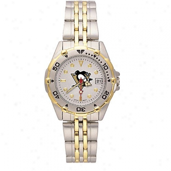 Pittsburgh Penguins Watch : Pittsburgh Penguins Ladies All-star Watcu W/stainlesss Hardness Band