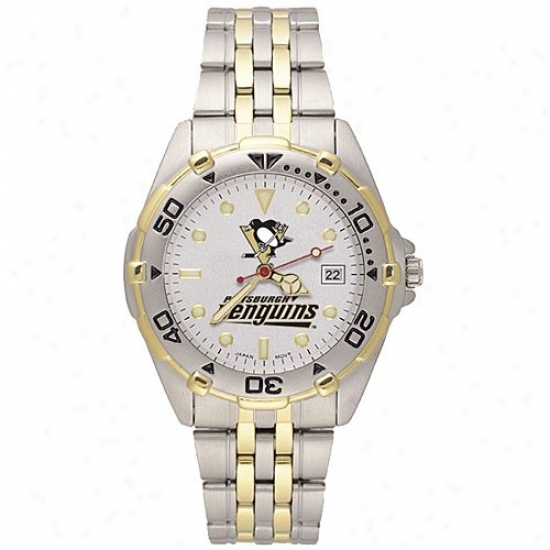 Pittsburgh Penguins Wrist Watch : Pittsburgh Penguins Men's All-star Wrist Watch W/stainless Steel Band
