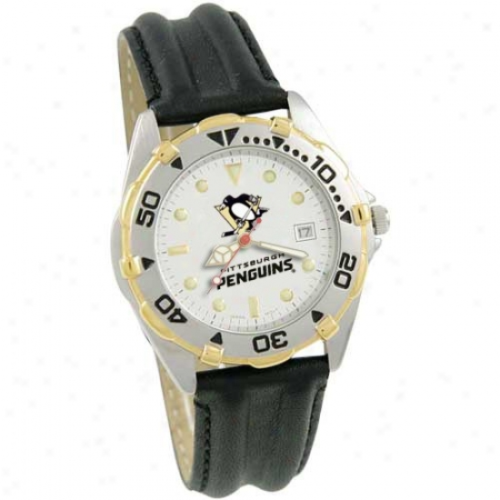 Pittsburgh Penguins Wrist Watch : Pittsburgh Penguins Men's All-star WristW atch With Blaxk Leather Band