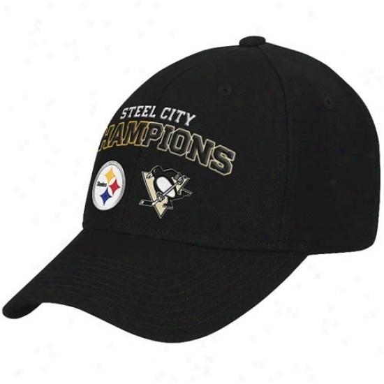 Pittsburgh Steeler Merchandise: Reebok Pittsburgh Penguins-pittsburgh Steeler Black Steel City Champions Adjustable Hat