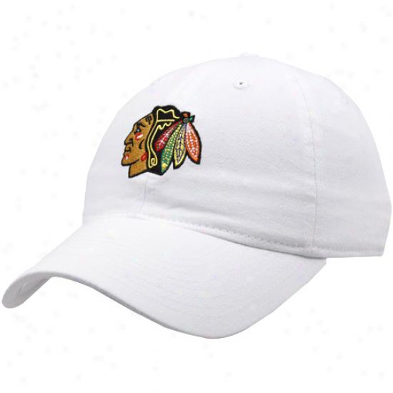 Reebok Chicago Blackhawks White Team Logo Adjustable Hat
