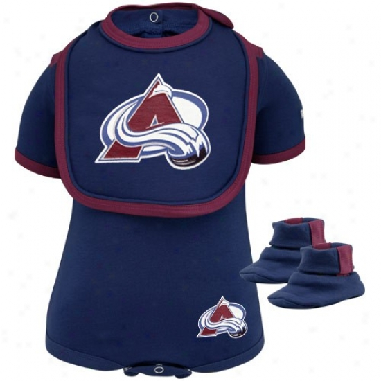 Reebok Colorado Avalanche Infant Navy Blue 3-piece Creeper, Bib & Booties Set