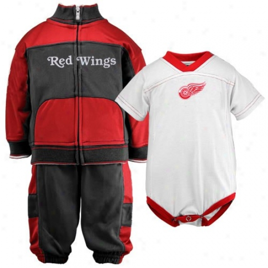 Reebok Detroit Red Wings Babe Black-red 3-piece Creeper, Jacket & Pants Set