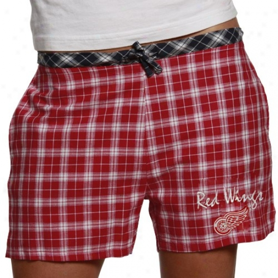 Reebok Detroit Red Wings Ladies Red Heritage Plaid Pajana Shorts