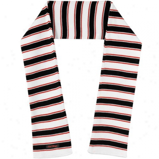 Reebok Detroit Red Wings White -black-red Striped Knit Scarf