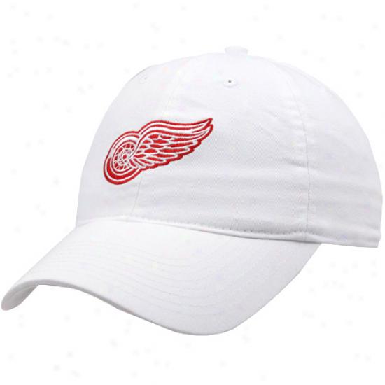 Reebok Detroit Red Wings White Team Logo Adjustable Hat