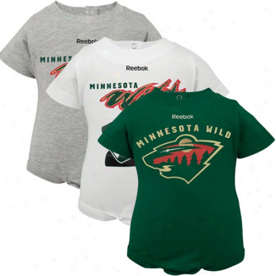 Reebok Minnesota Wild Newborn White, Ash & Green 3-pack Creeper Set