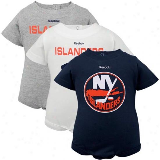 Reebok New York Islanders Infant White, Ash&  Navy Blue 3-pack Creeper Set