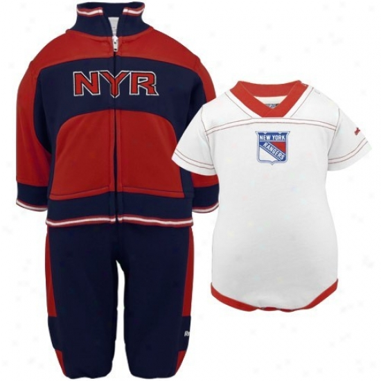 Reebok New York Rangers Infant Navy Blue-red 3-piece Creeper, Jacket & Pants Set