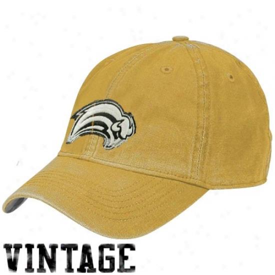 Sabres Gear: Reebok Sabres Gold Distressed Logo Vintage Slouch Hat