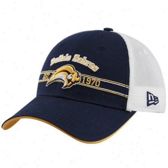 Sabres Hat : New Era Sabres Navy Blue Old Tymes Adustable Hat