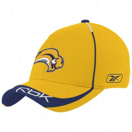 Sabres Hat : Reebok Sabres Gold Player 2nd Season Flex Fit Hat