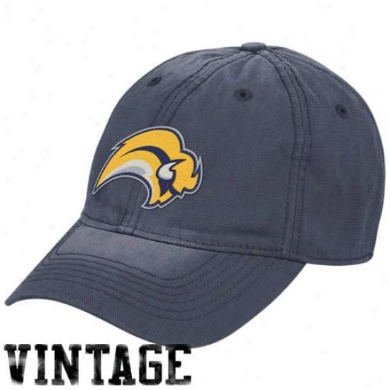 Sabres Hat : Reebok Sabres Navy Blue Diqtressed Logo Vintage Slouch Hat