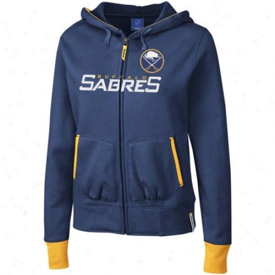 Sabres Hoody : Reebok Sabres Ladies Ships Blue Chant Full Zi Hoody