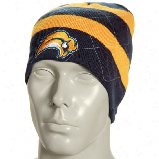 Sabres Commodities: Reebok Sabres Navy Blue Band Reversible Knit Beanie