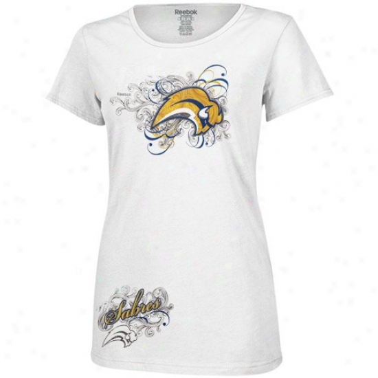Sabres Shirt : Reebok Sabres Ladies White Wild Flower Premium Shirt