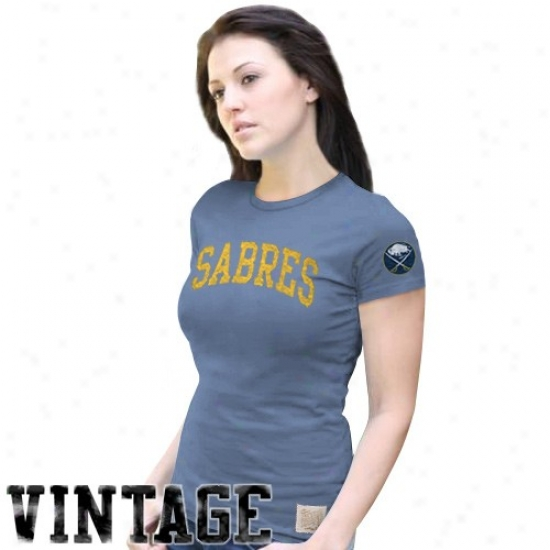 Sabres Shirts : Original Retro Brand Sabres Ladies Blue Distressed Crew Neck Vintage Premium Shirts