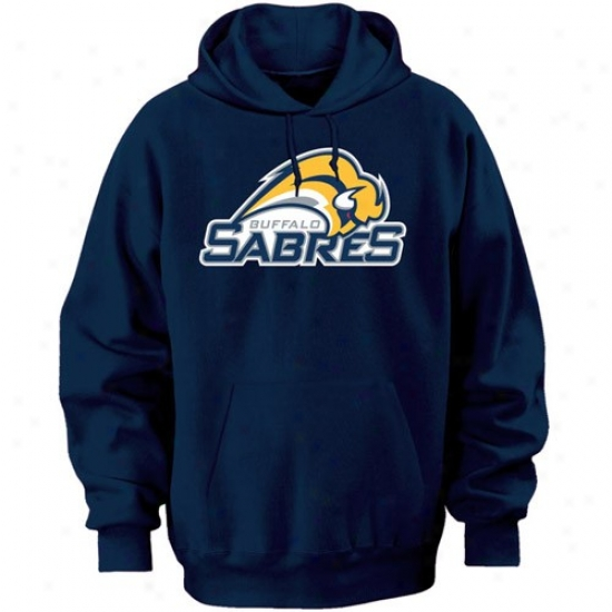 Sabres Stuff: Majestic Sabres Navy Blue Felt Tek Patch Hoody Sweatshirt