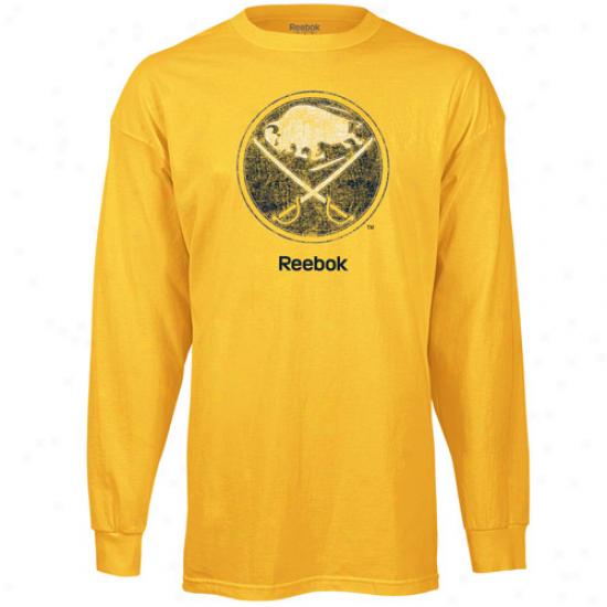 Sabres Tee : Reebok Sabres Gold Faded Logo Long Sleeve Tee