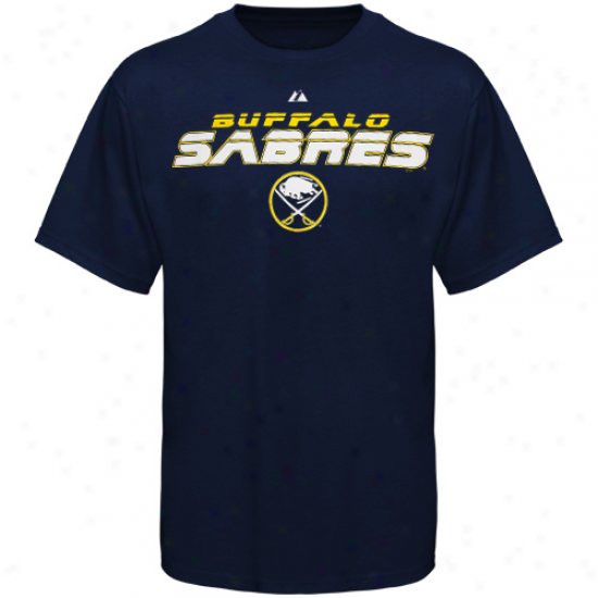 Sabres Tees : Majestic Sabres Navy Blue Attack Zone Tees