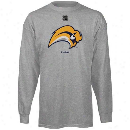 Sabres Tshirt : Reebok Sabres Youth Ash Logo Long Sleeve Tshirt