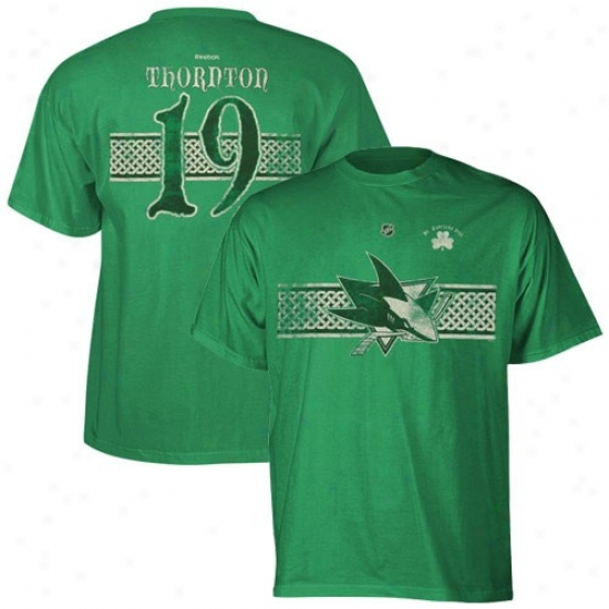 San Jose Shark Apparel: Reebok San Jose Shark #19 Joe Thornton Kelly Green St. Patrick's Day Celtic Player T-shirt