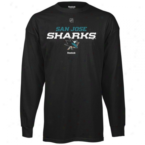 San Jose Shark Attire: Reebok San Jose Shark Black Team Speedy Long Sleeve T-shirt