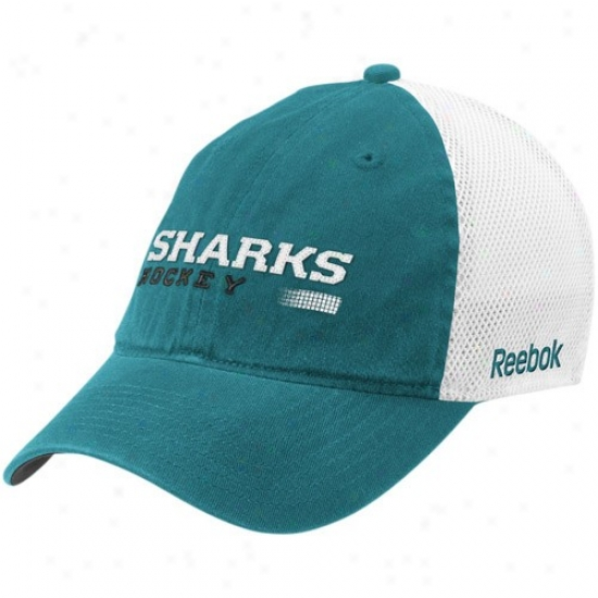 San Jose Fraud Capp : Reebok San Jose Shark Teal Official Team Ensnare Back Flex Fit Cap
