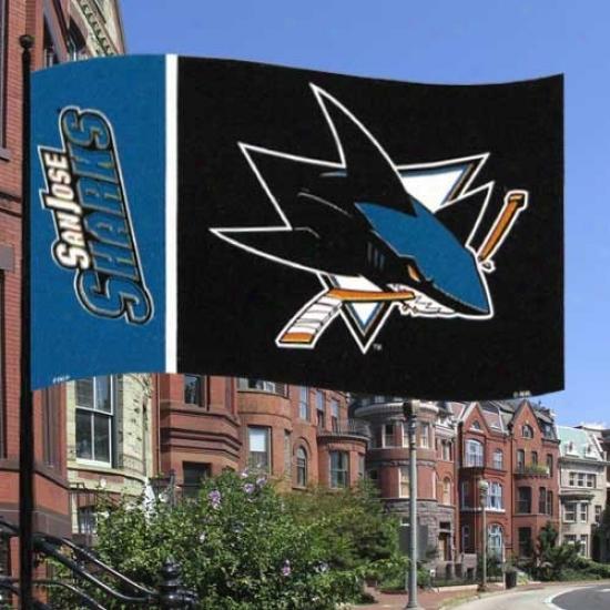 San Jose Shark Flag : San Jose Shark Teal-black Premium 3' X 5' Flag
