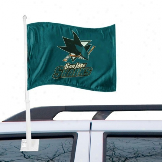 San Jode Shark Flag : San Jose Shark Teal Car Flag