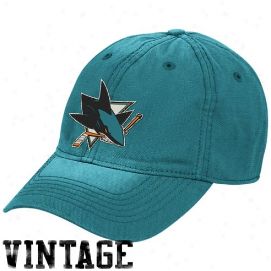 San Jose Shark Gear: Reebok San Jose Shark Teal Distreswed Logo Vintage Slouch Hat