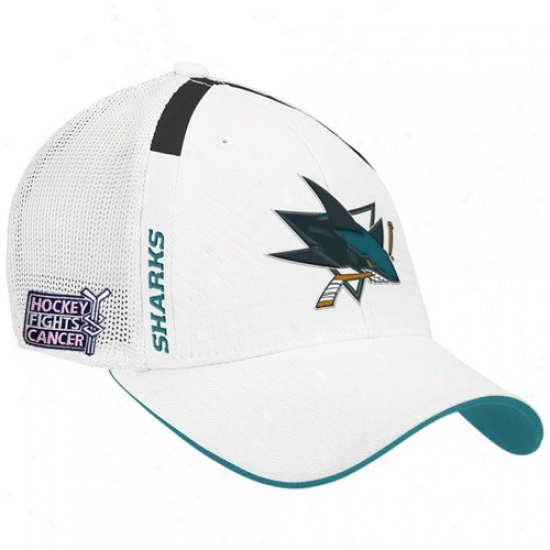 San Jose SharkkG ear: Reebok San Jose Shark White  Hockey Fights Cancer Draft Day Flex Fit Hat